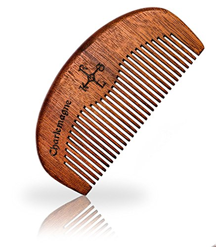 Charlemagne Bartkamm Holz - Bart Kamm Holz antistatisch - Barbershop Beard Comb - Bartkamm klein Barbier Qualität - Kamm Bart Holz - Grobe Zahnung - Bartpflege Herren