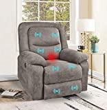 VUYUYU Fabric Electric Recliner Chair, Massage Recliner with Heated and Remote Control, Home Theater Seating for Living Room, Office, Bedroom (Light Coffee)