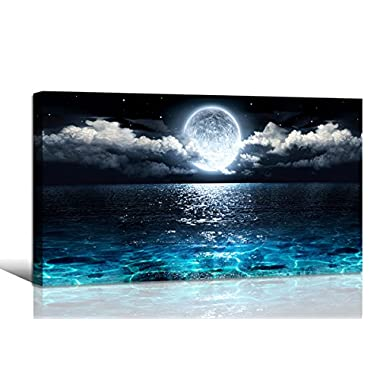 Haichuang Decor Art Wall Art Moon Sea Ocean Landscape Picture Canvas Wall Art Print Paintings Modern Artwork for Living Room Wall Decor and Home Décor Framed Ready to Hang