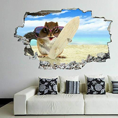 Pegatinas de pared-3D-Ardilla con tabla de surf en la playa Etiqueta de arte de pared Mural Calcomanía Póster F-50x70cm