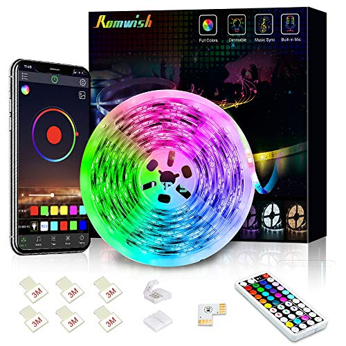 Tiras LED 5M, Romwish 5050 SMD RGB 150 LEDs con Control Remoto RF de 44 Botones & Control Bluetooth,para la Habitación,...