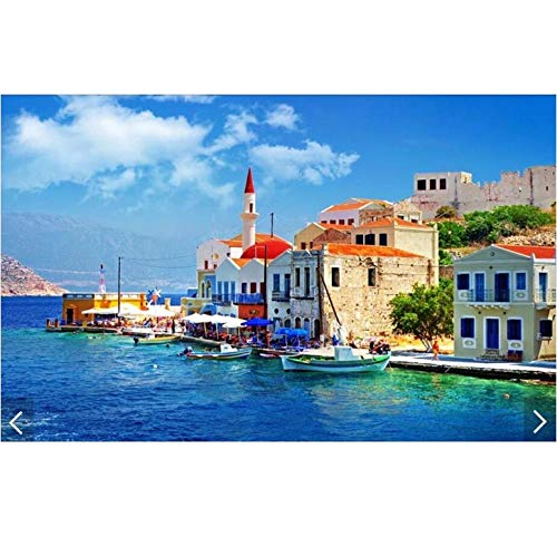 Hyllbb 3D Custom Photo Modern Greece Aegean Sea Castle Paisaje Mural Wallpaper Rollo Decoración De Pared Tv Fondo Sala De Estar Lienzo-200Cmx140Cm