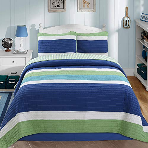 Cozy Line Home Fashions Waylon Navy Blue Green White Striped Print 100% Cotton Reversible Bedding Quilt Set, Coverlet Bedspread (Blue / Green, Queen - 3 Piece)