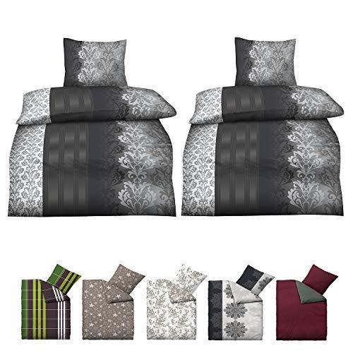 Niceprice Baumwolle Biber Bettwäsche in vielen modernen Designs und 4 Größen, 4 teilig Ruben 2X 135x200 cm, 2X 80x80 cm