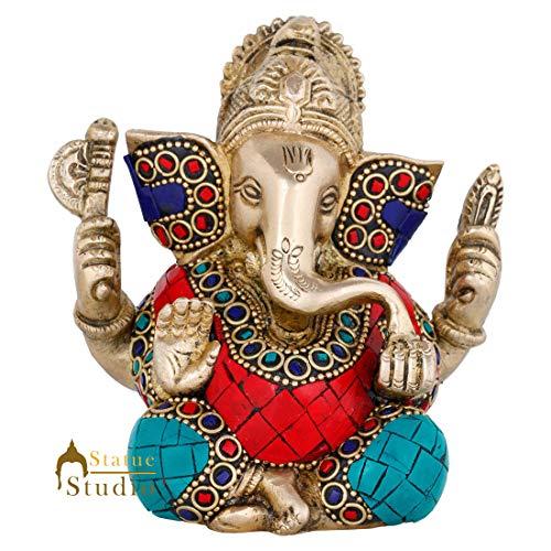StatueStudio Brass Ganesha Idol for Home Decor Diwali Office Corporate Gift Showpiece Inlay Work (4 × 2 × 4.5 Inches)