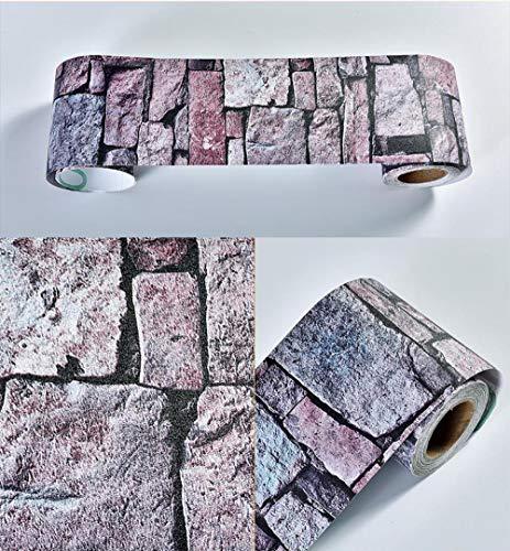 Papel pintado impermeable azul lila adhesivo adhesivo removible cenefa decorativa para cocina, baño, salón, azulejos 10 x 1000 cm