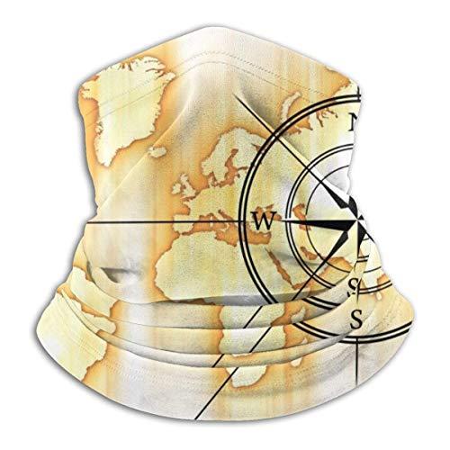 XXUU Brújula con Mapa del Mundo, máscara Facial, pañuelos, Bufanda, Calentador de Cuello, Diadema para Polvo, Deportes al Aire Libre, Sol, protección contra el frío