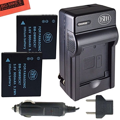 Pack of 2 DMW-BCK7 Batteries And Battery Charger for Panasonic Lumix DMC-FH25 DMC-FH27 DMC-FP5 DMC-FP7 DMC-FS16 DMC-FS18 DMC-FS22 DMC-FS35 DMC-FS37 DMC-S1 DMC-S2 DMC-S3 DMC-SZ1 DMC-SZ5 DMC-SZ7 DMC-TS20 DMC-TS25 Digital Camera + More!