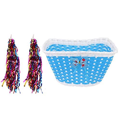 LIOOBO 1 Set 3 stks Kids Voorstuur Bike Basket Fiets Rietje Geweven Mand met Lint Fiets Decoraties Set voor Kinderen (1 st Blauw Boog Bike Basket + 1 Paar Ronde Hoofd lint)