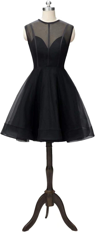 Honeywedding Women's Knee Length Cocktail Party Evening Dress Sleeveless Short Homecoming Dresses