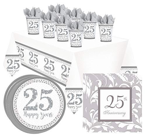 Libetui 37-teiliger Geschirr-Set Silberhochzeit Party-Set Teller Servietten Becher Tischdecke 25th Wedding Anniversary 25. Jubiläum Silber Hochzeit 25 Jahre Partygeschirr