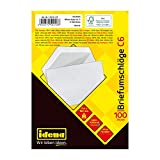 Idena 10218 - Briefumschläge C6, 75 g/m², nassklebend, ohne Fenster, weiß, 100 Stück