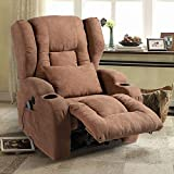 BINGTOO Power Recliner Chair with Heat and Massage, Electric Recliner Sofa Chairs with USB Charge Port for Elderly and Adults, Soft Linen Sleeper Reading Sofa Chairs for Bedroom, Living Room (Brown)