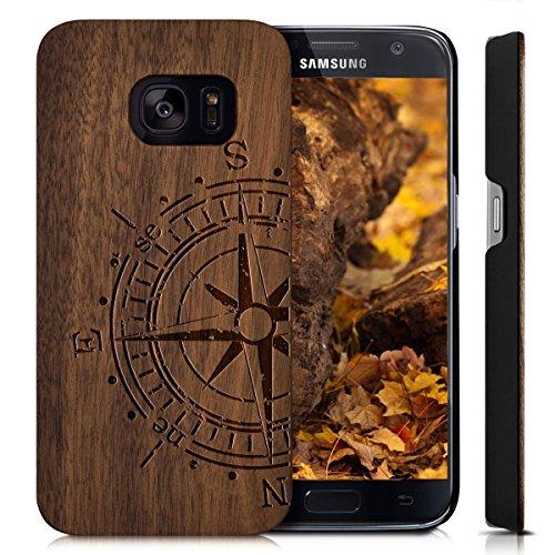 YUANQIAN Cover Galaxy S7 Edge, Custodia Samsung S7E, Custodia Case Cover di Legno Naturale per Samsung Galaxy S7 Edge (5.5 Pollici) Bumper Rigida Cellulare Cover Protettiva in Vero Legno Wood