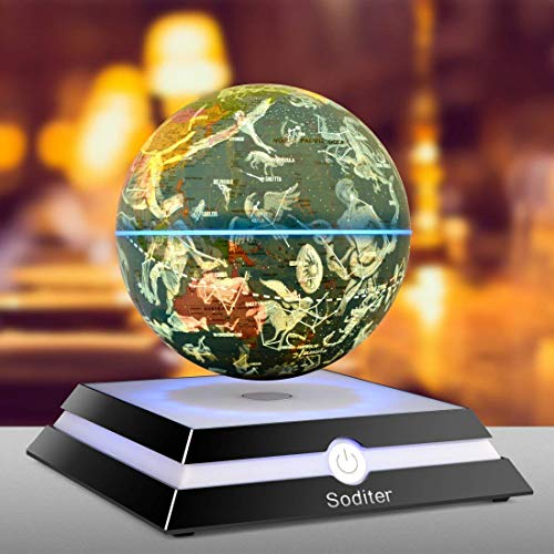Soditer LED Luminous Levitating Globe 6inch Floating Globes Sitting Room|Office Desktop Decoration|Creativity Holiday (Constellation Version)