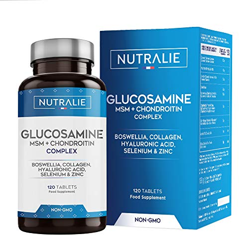 Glucosamina con Condroitina, MSM e Collagene | Mantenimento delle Ossa Normali con Glucosamina, Condroitina, MSM, Collagene, Acido Ialuronico, Boswellia, Selenio, Zinco | 120 Compresse Nutralie