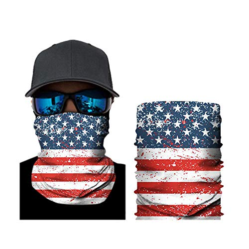 Locika Pack of 2.Skull Neck Gaiter Face Mask,Lightweight Face Gaiter,Face Scarf,Cooling Sun Face Cover for Fishing Hunting. (Flag)