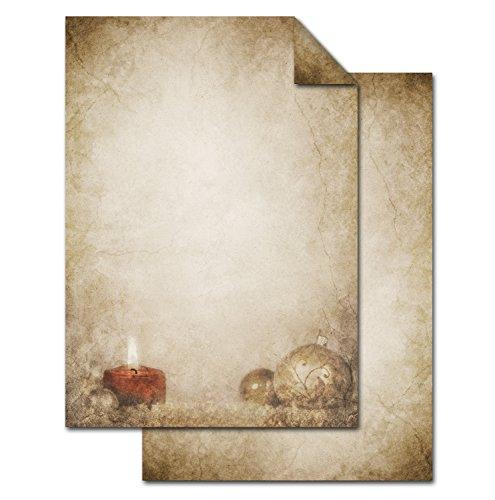 100 Blatt Weihnachts-Briefpapier beige KUGEL KERZE VINTAGE einseitig bedruckt 100g Weihnachts-Papier DIN A4 Brief-Bogen marmoriert vintage natur gold braun alt