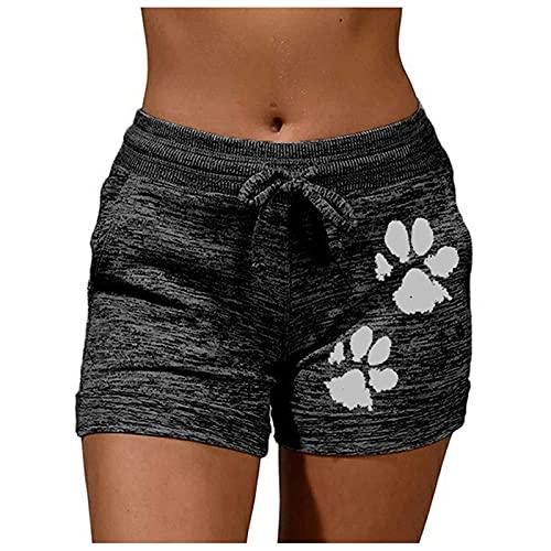 LowProfile Plus Size Workout Shorts for Women Summer, Biker Running Pants Comfy Casual Drawstring Lounge Short,S-5Xl,fg75 Black