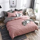 Juego de funda de edredón de 3 piezas, funda de edredón de microfibra cómoda, conjunto de ropa de cama elegante clásico (rosa, 220 x 240 cm)