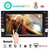 Android 9.0 Car Navigation Stereo with Bluetooth Double din Car Radio in Dash Car DVD Player 2 din GPS Sat System WiFi Mirrorlink Support USB SD 1080P Colorful Button Lights New UIs External Mic