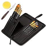 バリイチゴ屋 油絵の具セット 油絵筆セット 美術 画材 15セット(ブラック)