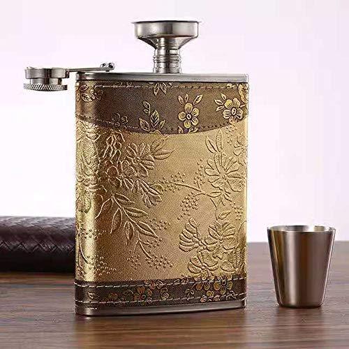 jettaex Golden pattern 8 Oz Gift 100% Stainless Steel(304/18-8 SS).Bonus 2 Shot Glass+1Funnel+1Giftbox.Flask Leak Proof Tested.Flask for Liquor/Alcohol.Flask for Men/Women