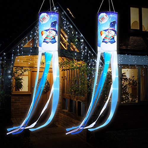 Weihnachten Schneemann Windsack Flaggen Winter Outdoor Hängen mit Warmweißen LED Lichtern, Weihnachten Outdoor Hängen Dekor für Hof Garten Terrasse Weg Party Dekoration (2)