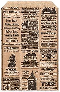 Set/50 Vintage Newspaper Print Flat Paper Gift Bags, FAVOR SIZE, 4.75
