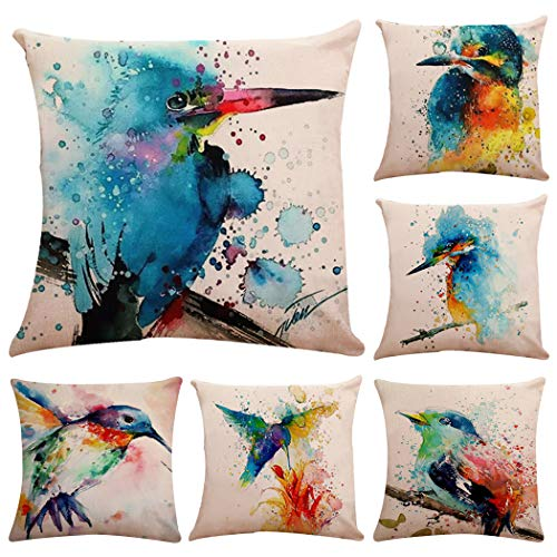 Polyester Throw Pillow Case Cushion Cover Home Sofa Decorative(Cover Only,No Insert) (18x18 inch/ 45x45cm,6 Pack Watercolor Printing Birds)