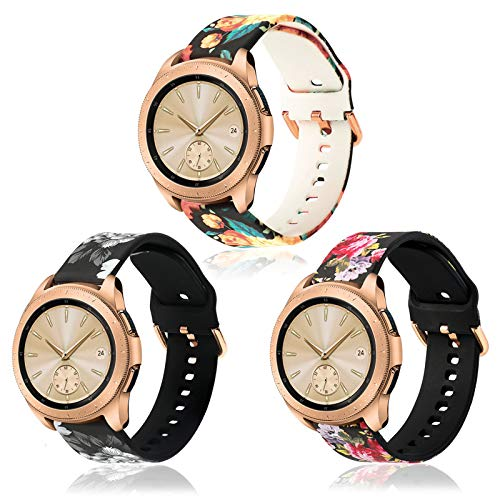 KOREDA Compatible with Samsung Galaxy Watch 42mm/Galaxy Watch Active/Active 2 40mm 44mm/Galaxy Watch 3 41mm Bands Sets, 20mm Soft Floral Print Sport Watch Strap Replacement for Gear Sport Smartwatch