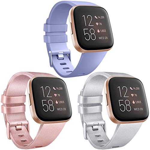 AK [3 Pack] Soft TPU Bands Compatible with Fitbit Versa, Elastomer Replacement Wristband Sports Waterproof Strap for Fitbit Versa Lite Smart Watch Women Men (Small, Lavender/Rose Gold/Silver)