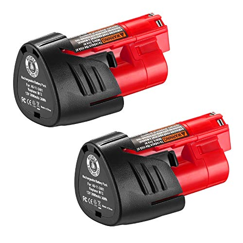 Upgraded 3000mAh 12Volts Replacement Batteries Compatible with Milwaukee M12 XC 48-11-2411 48-11-2420 48-11-2401 48-11-2402 48-11-2401 Cordless Tools Batteries