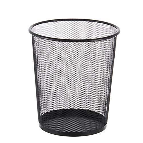 SHOP YJX Papelera de alambre de púas para oficina, creativa, sin cubierta, simple, moderna, grande, cesta de papel hueco (color: gris, tamaño: 29 x 24 x 34)