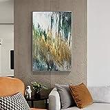 Pintura verde amarilla abstracta pintura moderna lienzo arte moda pared cuadros para sala de estar carteles impresiones