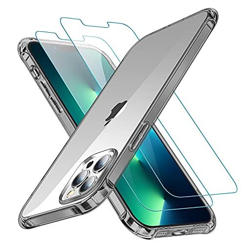 CANSHN Cover Compatibile con iPhone 13 Pro con 2 Pellicola Vetro Temperato, Custodia per Assorbimento Degli Urti in TPU Morbido [Protettiva Sottile] per iPhone 13 Pro da 6.1   - Nero