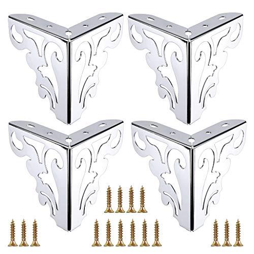 OwnMy 4pcs Metal Furniture Legs Feet, Modern Sofa Cabinet Legs for Repair & Restoration of Dresser, Wardrobe, Tea Table, Worktop Shelves Bed, Weight Capacity of 550 lbs Per Leg (12cm/4.7inch)