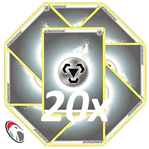 Generisch Einsteigerset Pokemon Basis Energie Karten - 20x Metall Energie - Deutsch Cardicuno