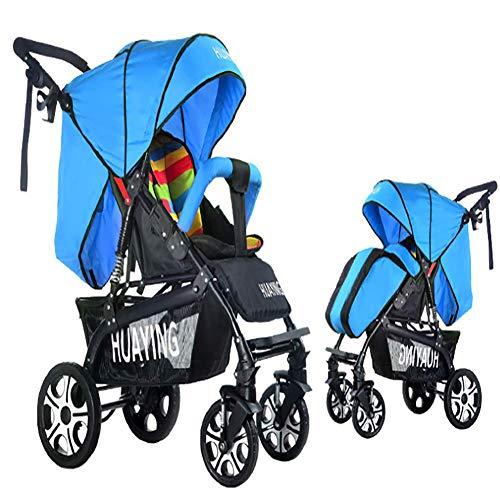 Huckyi Kinderwagen mit Babyschale - Leichter Sportwagen mit Liegeposition, Kinderbuggy bis max. 15 kg, Reisebuggy, Kinderwagen klein zusammenklappbar, Kinderwagen mit Sportsitz,Blue
