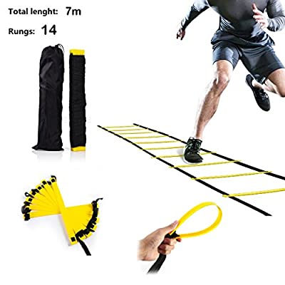XEMZ Speed Agility Fitness Ladder with Pouch, Home Gym Quickness Training Equipment Hurdles, Soccer Football Faster Footwork Exercise Drills Aid, Adjustable Sport Cones Folder