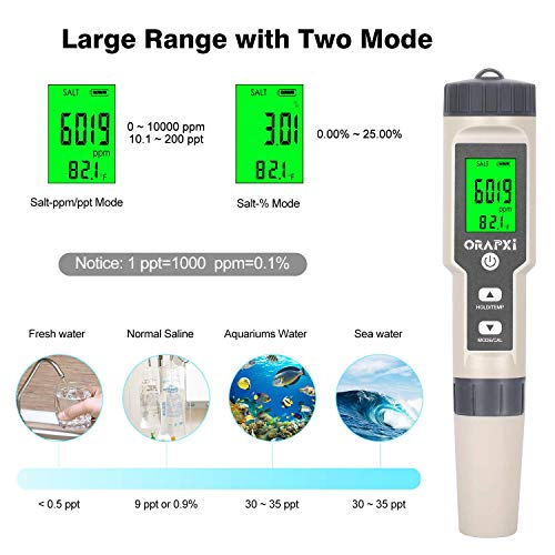 Digital Salinity Tester for Salt Water - Waterproof IP67 Salinity Meter with ATC Large Range 0-200ppt Saltwater Tester for Seawater, Aquariums, Marine Monitoring, and Koi Fish Pond by ORAPXI