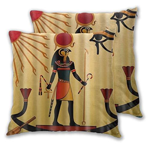 ELIENONO Juego de 2 Decorativo Funda de Cojín Impresión Digital del patrón de los faraones Funda de Almohada Cuadrado para Sofá Cama Decoración para Hogar,55x55c