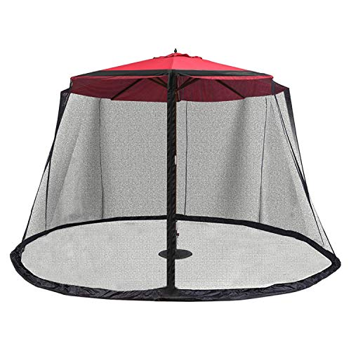OUTDOOR WIND Outdoor 10FT Patio Umbrella Table Cover Mosquito Polyester Netting Screen,Black