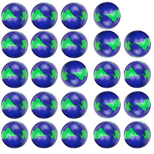 Livativ 2 Inch Foam Stress Balls - Pack of 24 - World Stress Balls from Playko - Bouncy Globe Stress Balls - Foam Earth Squishies for Adults and Kids - Bulk Stress Relief Balls - Squishy Stress Balls