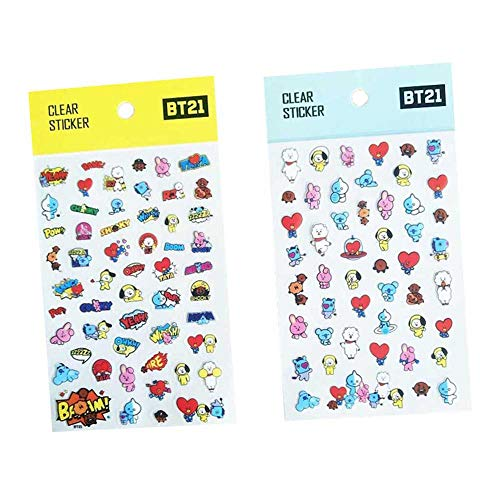 Nuofeng - Kpop Bangtan Boys Sticker PVC Sticker Cartoon Sticker Set Gift for A.R.M.Y Posted on Fans Products( 2PCS)