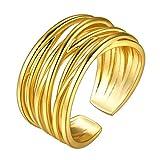 GoldChic Multicapa Anillo de Oro enchapado Talla Ajustable