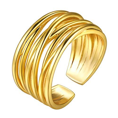GoldChic Jewellery Anillo Amor Multicapa Oro Mujer, latón con baño de Oro, Banda Anillo Ajustable, Regalo para Ella Novia Señora