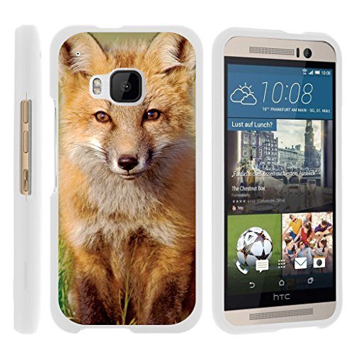TurtleArmor | Compatible with HTC One M9 Case [Slim Duo] Slim Compact 2 Piece Hard Snap On Case Grip Matte Coating on White Animal - Baby Fox