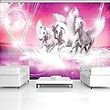 DekoShop Fototapete Vlies Tapete Moderne Wanddeko Wandtapete Pegasus auf rosa Hintergrund AMD589V4 V4 (254cm. x 184cm.) Tiere/Fauna