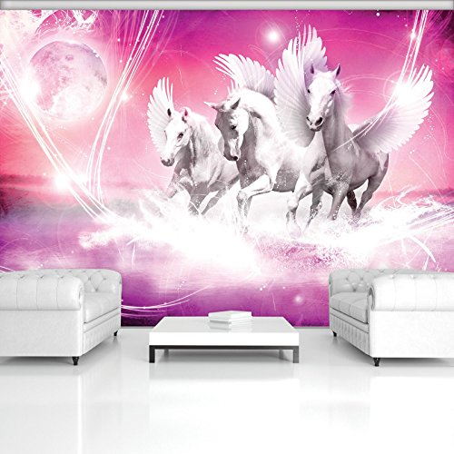 DekoShop mantiburi AMD589V4 V4 - Papel pintado fotográfico (fieltro, 254 x 184 cm), diseño de pegaso sobre fondo rosa